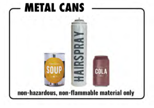 Metal items which may be recycled