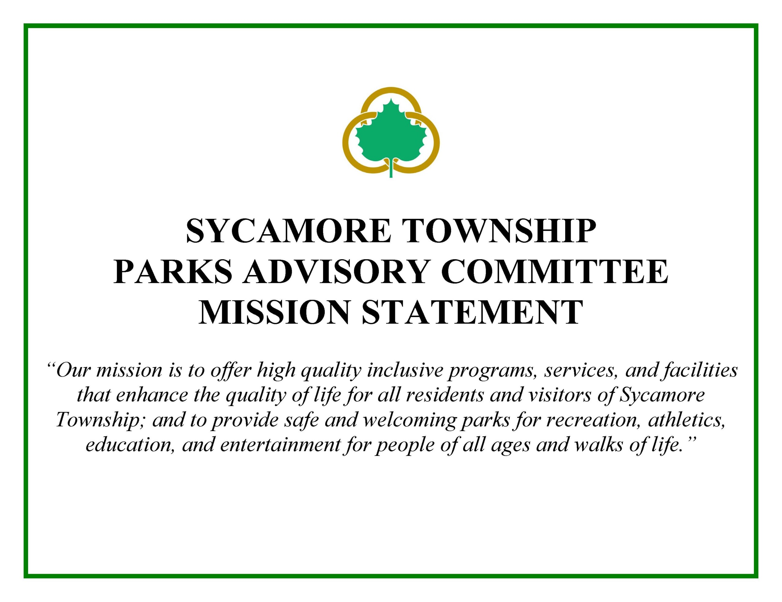 Parks Advisory Committee Mission Statement