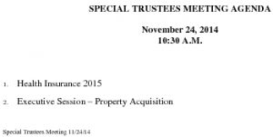 Icon of Special Trustee Meeting Agenda 11 24 2014