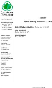 Icon of Special Meeting Agenda 09 17 2018