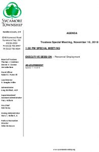 Icon of Special Meeting Agenda 11 16 2018