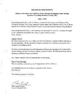 Icon of Record Of Proceedings JEDZ Northwest 06-07-18