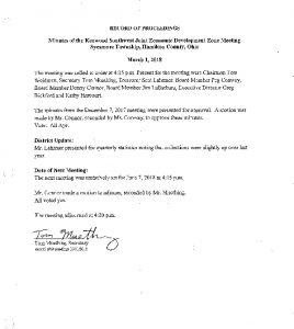 Icon of Record Of Proceedings JEDZ Southwest 03-01-18