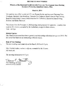 Icon of Record Of Proceedings JEDZ Southwest 03-06-19