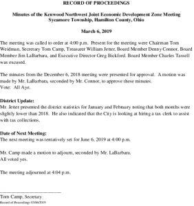 Icon of Record Of Proceedings JEDZ Northwest 03-06-19