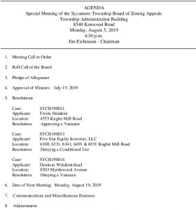Icon of 08-05-19 Special BZA Meeting Agenda