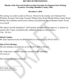 Icon of DRAFT Record Of Proceedings JEDZ Northwest 12-05-19