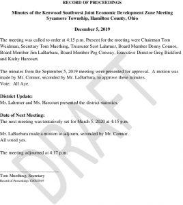 Icon of DRAFT Record Of Proceedings JEDZ Southwest 12-05-2019