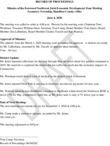 Icon of JEDZ Board Meeting Minutes 06-04-20