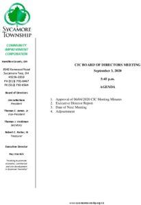 Icon of CIC Meeting Agenda 09 03 2020