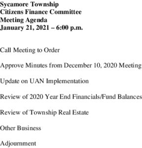 Icon of 01 21 2021 Finance Committee Agenda