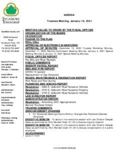 Icon of Trustee Meeting Agenda 01 19 2021