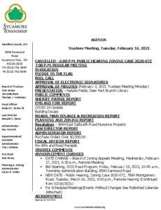 Icon of Trustee Meeting Agenda 02 16 2021