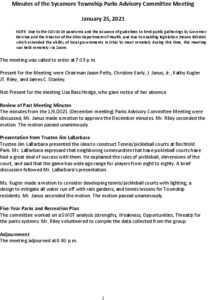 Icon of 01-25-2021 Parks Advisory Commitee Meeting Minutes