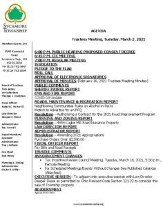 Icon of Trustee Meeting Agenda 03 02 2021