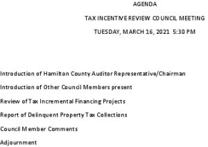 Icon of Tax Incentive Review Council Agenda 03 16 2021