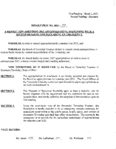 Icon of Resolution-2021-014 Amending 2021 Appropriations