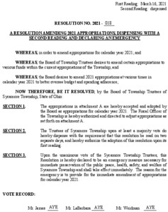 Icon of Resolution-2021-018 Amending 2021 Appropriations