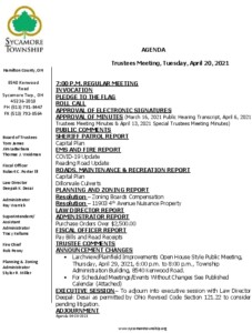 Icon of Trustee Meeting Agenda 04 20 2021