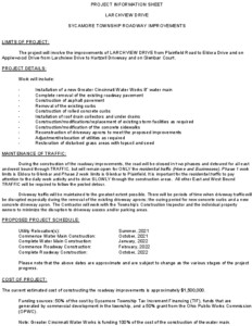 Icon of Project Information Sheet Larchview