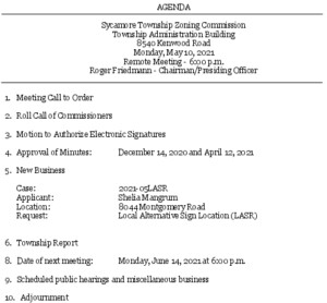 Icon of 05-10-2021 Zoning Commission Agenda