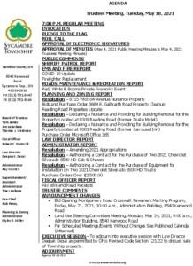 Icon of Trustee Meeting Agenda 05 18 2021