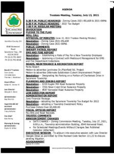 Icon of Trustee Meeting Agenda 07 13 2021