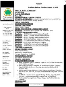 Icon of Trustee Meeting Agenda 08 03 2021