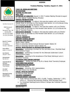 Icon of Trustee Meeting Agenda 08 17 2021