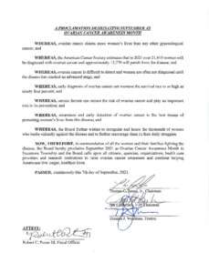 Icon of Proclamation Designating September 2021 Ovarian Cancer Awareness Month