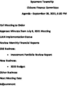 Icon of 09 28 2021 Finance Committee Agenda