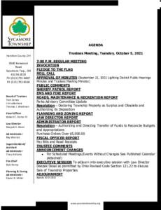Icon of Trustee Meeting Agenda 10 05 2021