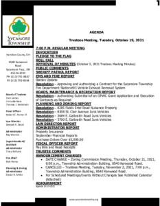 Icon of Trustee Meeting Agenda 10 19 2021