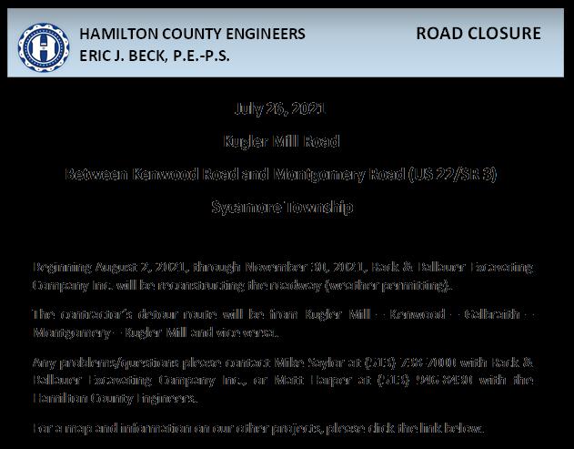 Kugler Mill Road Closure Notice