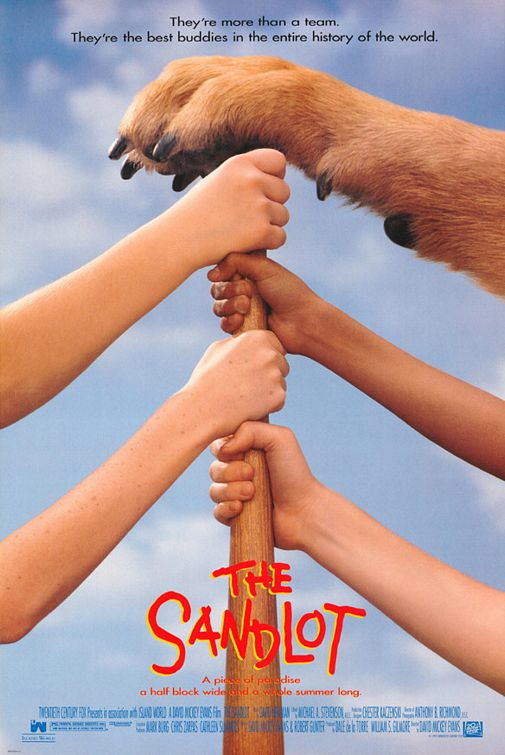 The Sandlot Movie Poster - hands and a paw on a baseball bat