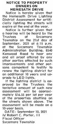 Hemesath Dr Lighting Notice